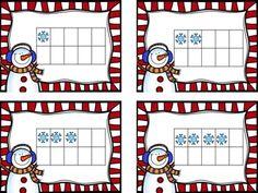 winter math freebie-ten frame match