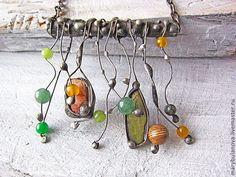 """Ожерелье """"Заросли"""" - морская волна,зелёный,бежевый,жёлтый,ожерелье,Ожерелье с камнями"""