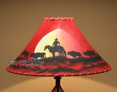 "20"""" Painted Leather Lamp Shade -Moonlight Ride (PL53)"