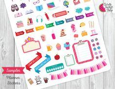 Sample Planner Stickers for Erin Condren Planner, Filofax, Life Planner Stickers, Kikki K, Happy Planner Stickers. de SandiaDesignShop en Etsy