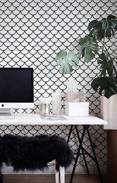 Interesting minimalistic Fish Scales Removable Wallpaper | COLORAYdecor.com #peelandstick #wallcovering #wallmural #geometric #blackandwhite #patterndesign #patternprint #roominteriordesign #roomideas