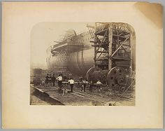 "[Men at Work Beside the Launching Chains of the ""Great Eastern""]"