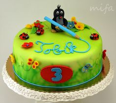 the little Mole. the little Mole. There krtek. The little mole. Royal Icing Cakes, Fondant Cakes, Cake Cookies, Cupcakes, Single Tier Cake, Funny Cake, Cake Central, Baby Cakes, Gum Paste