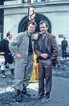 Dan Aykroyd and Bill Murray on the set of Ghostbusters.                                                                                                                                                                                 More