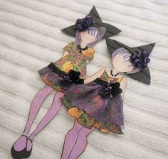 PreMade Scrapbook Prima Halloween Witch Paper Dolls Paper Piecing by Becky #ShabbyCottageHandmade