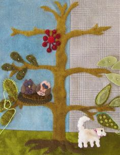 Sue Spargo workshop.  And the dog has friends...love the little owls.