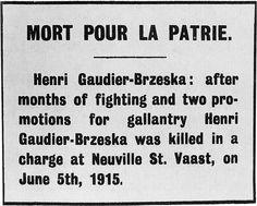 265 best modernismo livros arte poesia images on pinterest henri gaudier brzeska obituary notice from blast july 1915 fandeluxe Images