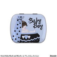 Sweet Baby Black and Blue Baby Shower Candy Jelly Belly Candy Tins