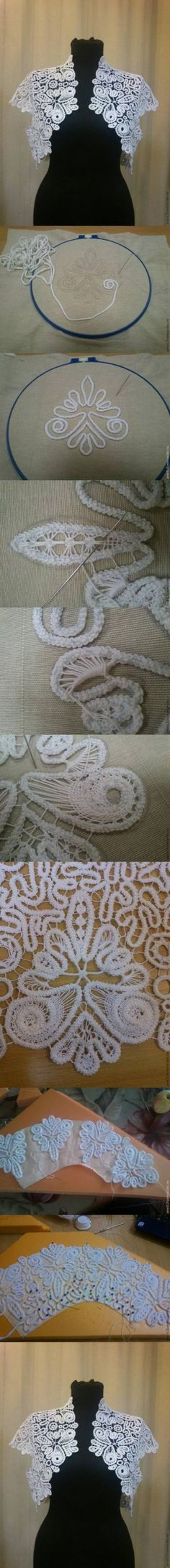 DIY Romanian Lace DIY Projects Shows the stages in Romanian point lace. Gilet Crochet, Freeform Crochet, Irish Crochet, Crochet Lace, Crochet Stitches, Lace Patterns, Embroidery Patterns, Hand Embroidery, Sewing Patterns