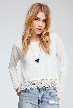 Crochet-Trimmed Slub Knit Top | FOREVER21 - 2000135549