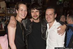 Director Carrie Cracknell with actors Ben Whishaw and Andrew Scott at the press night party for 'The Verdict' - Young Vic Theatre, London. June 26/15