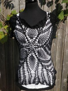 flower patterned black crochet womans shirt size par CrochetByMel, $55.99