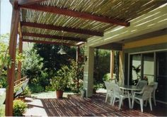 pergola with bamboo fencing cover; concept is good but need to re-work overall design.