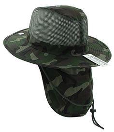 5006b03fcb5 JFH Wide Brim Bora Booney Outdoor Safari Summer Hat w Neck Flap   Sun  Protection - Dark Green Camouflage - - Hats   Caps