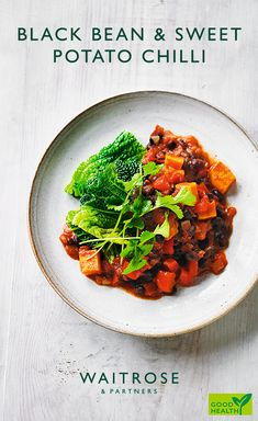 Vegetarian black bean and sweet potato chilli. Serve with coconut yogurt and sprinkle with coriander. Tap to see the full Waitrose & Partners recipe. Chilli Recipes, Veg Recipes, Veg Chilli Recipe, Mexican Food Recipes, Vegetarian Recipes, Cooking Recipes, Healthy Recipes, Freezable Meals, Quick Meals
