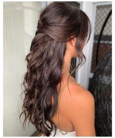 Formal Hair Down, Half Up Half Down Hair Prom, Prom Hair Down, Wedding Hair Down, Wedding Hair And Makeup, Prom Hairstyles Half Up Half Down, Wedding Updo, Long Hair Formal Hairstyles, Boho Wedding