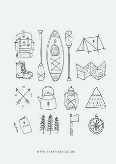 Doodle Drawings, Doodle Art, Doodle Frames, Camping Tattoo, Line Illustration, Illustrations, Journal Inspiration, Line Drawing, Line Art