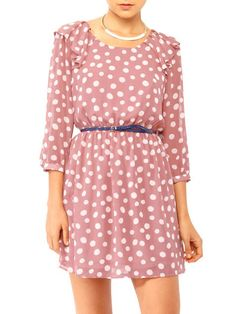 Dresses, polka dot dresses, mauve, polka dots, print dresses, work clothes, date night outfits, vintage style, Forever 21, $25