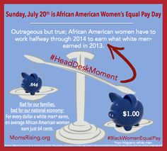 Outrageous: Black women have to work halfway thru 2014 to earn what white men earned in 2013. #WEmatter #WOCmatter - Moms Rising