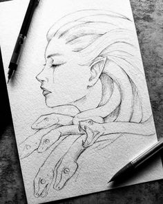 Inktober Original - Medusa — Saiyre Illustration and Design - - Original Inktober drawing of Medusa, signed. x 6 inch pencil drawing preserved with fixative on 300 gsm watercolor paper. Original drawings are all sent with a tracking number. Dark Art Drawings, Art Drawings Sketches Simple, Pencil Art Drawings, Cool Drawings, Tattoo Sketches, Drawing Ideas, Hipster Drawings, Hipster Art, Drawing Art
