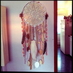 Huge Shimmering White & Gold DREAMCATCHER with fox tail, crystals, vintage trims FREE SHIPPING. 210.00, via Etsy.