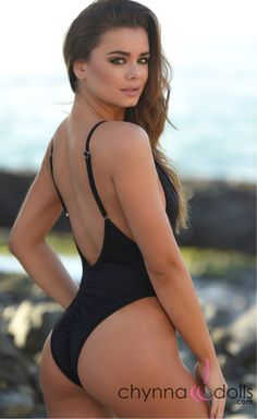 d371f2ac0648f St. Martin  High Cut Swimsuit Monokini w  Plunging Neckline in Black. Chynna  Dolls