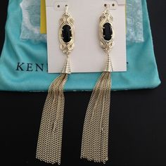 Kendra Scott Erin Long Earrings in Black/Gold! Discontinued Kendra Scott Erin Long Earrings in Black/Gold. These super cute and elegant earrings will go with all kinds of outfits in any occasion!   I'm also selling this kind of earrings in White/Gold and Teal/Gold. Ask and I can make a special bundle of all 3 with discount for you!  Please check out my closet for more Kendra Scott items. Also selling these on Mercari for cheaper price!!! Ⓜ️ Kendra Scott Jewelry Earrings