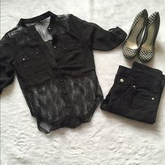 Black button up lace TOP  Black lace shirt   size small Please ask for additional pictures, measurements, or ask questions before purchase No trades or other apps. Ships next business day Reasonable offers accepted  Five star rating Bundle for discount Francesca's Collections Tops Button Down Shirts