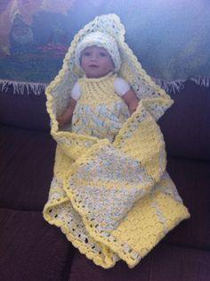 C2C Blanket, Crochet Swirl Cap and Knitted Dress