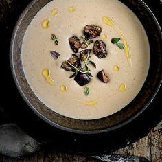 Roast jerusalem artichoke, chestnut and thyme soup