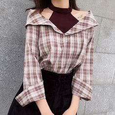 #Spring #AdoreWe #YesStyle - #About a Girl Mock Two-piece Open Shoulder Long-Sleeve Blouse - AdoreWe.com