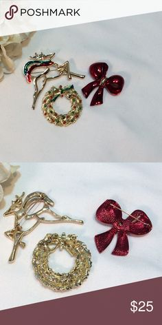 💍 Holiday Pins--3 💍 Holiday Pins--3 💍 Beautiful, in like-new condition. One-day shipping. Gifts with Buy Now price. Vintage Jewelry Brooches