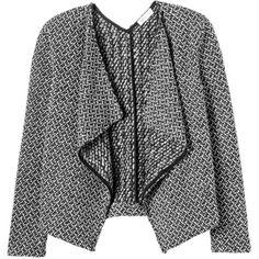 Rebecca Taylor Tuck Stitch Tweed Jacket (210 CAD) ❤ liked on Polyvore featuring outerwear, jackets, coats, cardigans, coats & jackets, blackwhite combo, tweed blazer, drape jacket, rebecca taylor blazer and drapey jacket