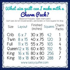 Helpful charts for the beginning quilter!