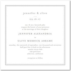 Pure Style - Thermography Wedding Invitations - Jenny Romanski - White : Front