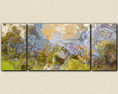 """Extra large giclee canvas print triptych abstract art, 30x72 to 40x90, in earthy colors, from abstract painting """"No Pressure"""""""