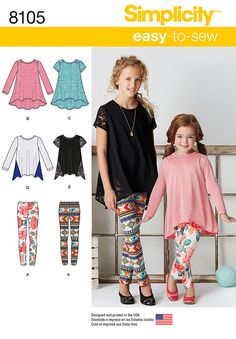 Pattern 8105 Child's and Girls' Knit Tunics and Leggings