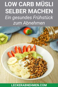 Low Carb Crunchy Muesli - Healthy low carb breakfast without sugar - There are many quick recipes for a healthy breakfast, but you must have tried this low carb muesli. Sugar Free Breakfast, Healthy Low Carb Breakfast, Low Carb Lunch, Vegan Breakfast Recipes, Quick Recipes, Diet Recipes, Healthy Recipes, Vegetarian, Breakfast