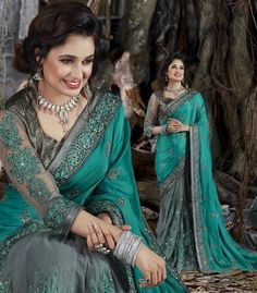 Green With Grey Art Silk & Netted Saree
