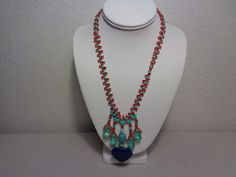 Red Beads Lapis Lazuli Navy Blue Heart Shaped Pendant