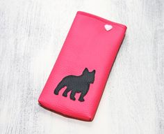"Handyfreundin ""Frenchi"" rosa, French Bulldog von retronella DOGS. auf DaWanda.com"