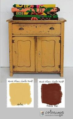 Colourways by Leslie Stocker painted this rustic chipped cabinet using Chalk Paint® by Annie Sloan in Arles, a rich, glowing yellow and Primer Red, a deep, red ochre. The colours work amazing together especially in this two-colour distress and Mexican patterned cloth.