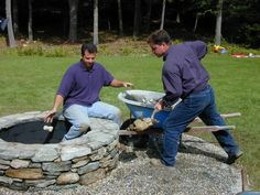 Fire Pit?  river rock landscaping ideas - Google Search