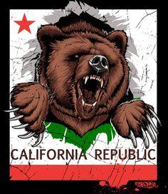 The California Republic California Bear Tattoos, California Logo, Miss California, California Republic, Northern California, Cali Style, Bear Art, Big Bear, Teddy Bear