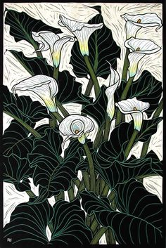 Arum Lily. Hand-colored linocut on handmade Japanese paper by Rachel Newling.