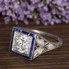 Stunning Diamond and Sapphire Art Deco Engagement Ring Art Deco Ring, Art Deco Diamond, Art Deco Jewelry, Jewelry Gifts, Jewelry Box, Antique Jewelry, Vintage Jewelry, Art Deco Wedding, Art Deco Era