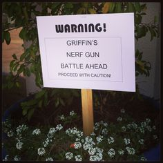 Nerf Gun Party Welcome Sign