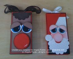Christmas - Santa and Rudolf Chocolate Block Slider Card Tutoria - Punch Art - bjl Christmas Punch, Noel Christmas, Christmas Gift Tags, Christmas Paper, Holiday Cards, Arte Punch, Punch Art Cards, Owl Card, Slider Cards