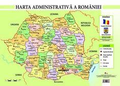 Harta administrativa a Romaniei, format A4 Kitchen Patio Doors, Romania, Map, Geography, Maps