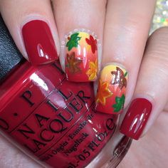 Fall inspired? Try this leafy manicure in auburn hues using OPI from Sally Beauty.